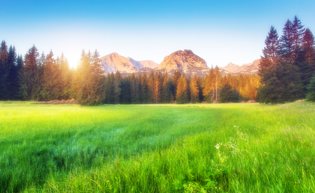 Scenic surroundings of the national park Durmitor. Picturesque and gorgeous morning scene. Popular tourist attraction. Location place Montenegro, balkan peninsula, Europe. Stock Photo