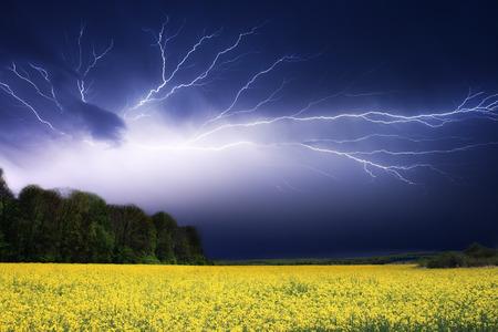 Lightning strike over a field Stock Photo - 95596172