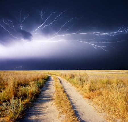 summer storm beginning with lightning Stok Fotoğraf