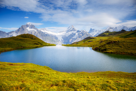 Great view of Mt. Schreckhorn and Wetterhorn above Bachalpsee lake. Dramatic and picturesque scene. Popular tourist attraction. Location Swiss alp, Bernese Oberland, Grindelwald, Europe. Beauty world Stock fotó