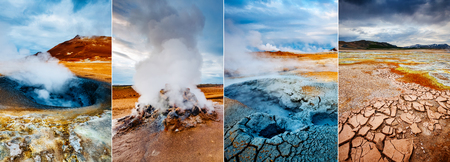Creative collage geothermal area Hverir (Hverarond) with vertical photo. Dramatic and picturesque scene. Location place Lake Myvatn, Krafla northeastern region of Iceland, Europe. Beauty world. Фото со стока