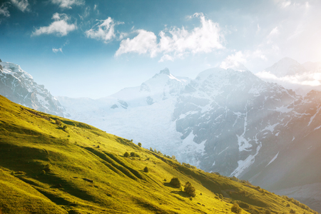 Fantastic snow peaks at the foot of Tetnuldi glacier in the morning light. Picturesque and gorgeous scene. Location place Svaneti, Mestia, Georgia, Europe. High Caucasus ridge. Beauty world.