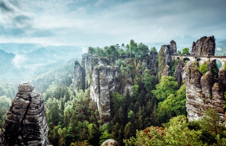 View of the Elbe Sandstone Mountains. Location place Saxony Switzerland national park, East Germany, Europe. Popular tourist attraction. Dramatic and picturesque scene. Artistic picture. Beauty world.