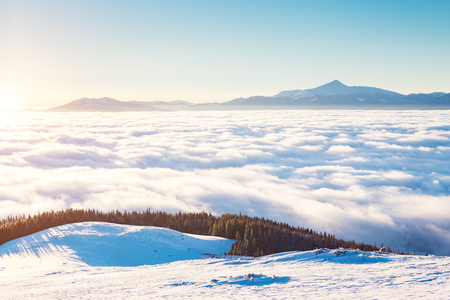 View of the misty valley, glowing by sunlight. Picturesque and gorgeous wintry scene. Location Carpathian national park, Ukraine, Europe. Alps ski resort. Beauty world. Blue toning. Happy New Year! Stock Photo