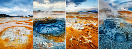 Creative collage geothermal area Hverir (Hverarond) with vertical photo. Dramatic and picturesque scene. Location place Lake Myvatn, Krafla northeastern region of Iceland, Europe. Beauty world. Stock Photo