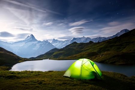 Great view of rock Schreckhorn above Bachalpsee lake. Dramatic and picturesque scene. Popular tourist attraction. Location place Swiss alps, Grindelwald valley, Bernese Oberland, Europe. Beauty world.