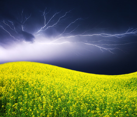 summer storm begining with lightning