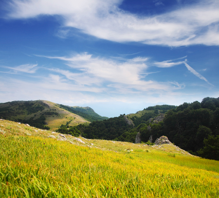 Beautiful mountains landscape and cloudy sky Stock Photo - 95710233