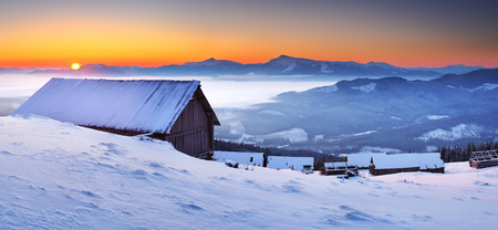 Sunrise in the mountains in winter on a cold morning