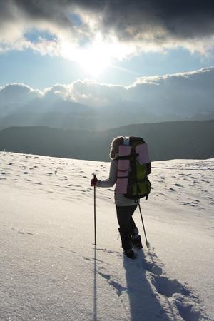 young beautiful walking in mountain