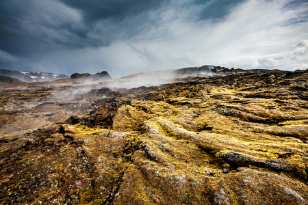 Exotic view of the geothermal valley Leirhnjukur. Popular tourist attraction. Dramatic and picturesque scene. Location place Myvatn lake, Krafla, Iceland, Europe. Discover the world of beauty.