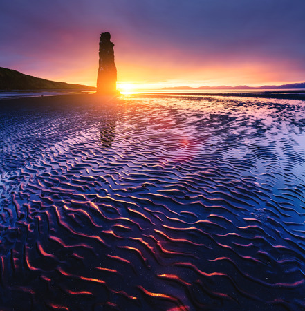 Spectacular dark sand after the tide. Picturesque and gorgeous scene. Location famous place Hvitserkur rock, Vatnsnes peninsula, northwest Iceland, Europe. Popular tourist attraction. Beauty world. Stock Photo