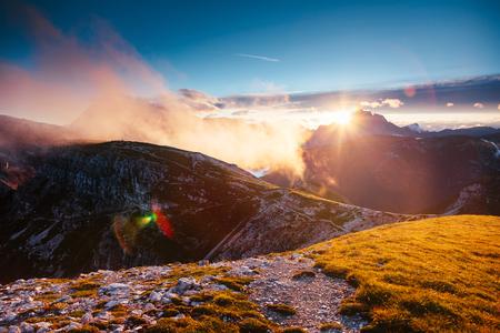 Scenic surroundings of the national park Tre Cime di Lavaredo. Dramatic and gorgeous scene. Location place Misurina, Dolomiti alp, South Tyrol, Italy, Europe. Beauty world. Artistic picture. Stock Photo - 95711761