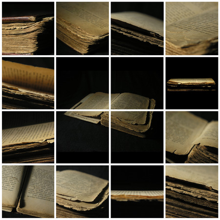 Photo collage of images. Old shabby book isolated over a black background. Historical museum exhibit. Foto de archivo - 104896339