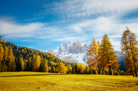 Scenic alpine peaks Durrenstein. Magical and gorgeous scene. Location place Dolomiti, national park Fanes-Sennes-Braies, province of Bolzano - South Tyrol, Italy. Europe. Discover the world of beauty.