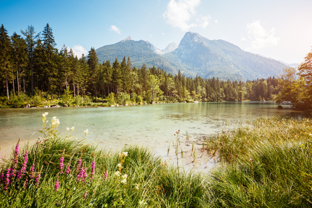 Famous lake Hintersee one of the best places on planet. Picturesque scene. Location resort Ramsau, National park Berchtesgadener Land, Upper Bavaria, Germany Alps, Europe. Explore the worlds beauty.