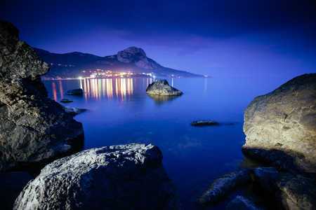Magical Black sea in the evening light. Breathtaking scene. Location place Crimea, Ukraine, Europe. Blue toning effect. Wonderful image of wallpaper. Art photography. Discover the world of beauty. 스톡 콘텐츠 - 101340273