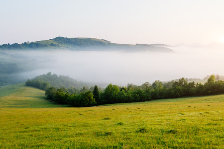 Rolling countryside around a farm in the morning light. Wonderful day and gorgeous scene. Location place Carpathian, Ukraine, Europe. Perfect vacation outdoors. Explore the worlds beauty. Stock Photo