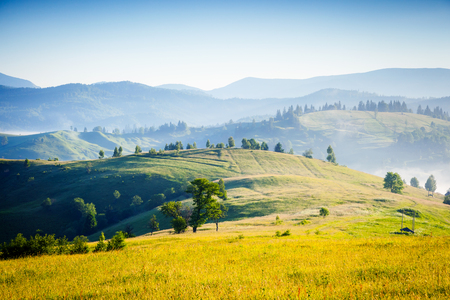 Scenic surroundings near the farm in the morning light. Picturesque day and gorgeous scene. Location place Carpathian, Ukraine Europe. Wonderful image of wallpaper. Explore the world's beauty. Фото со стока - 101341606