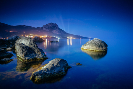 Magical Black sea in the evening light. Breathtaking scene. Location place Crimea, Ukraine, Europe. Blue toning effect. Wonderful image of wallpaper. Art photography. Discover the world of beauty. 스톡 콘텐츠 - 101341616