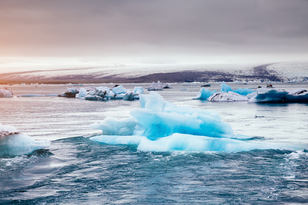 Large pieces of the iceberg. Awesome and striking scene. Location place Vatnajokull national park, Europe. Popular tourist attraction. Wonderful wallpaper. Climate change. Explore the worlds beauty. Stock Photo
