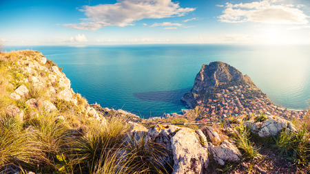 Fantastic view of the azure water on a sunny day. Picturesque and gorgeous scene. Location place Island Sicilia, Zafferano cape, Palermo sity. Italy, Europe. Drone photography. Beauty world.