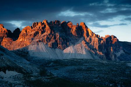 Scenic surroundings of the national park Tre Cime di Lavaredo. Dramatic and gorgeous scene. Location place Misurina, Dolomiti alp, South Tyrol, Italy, Europe. Beauty world. Artistic picture. Stock Photo