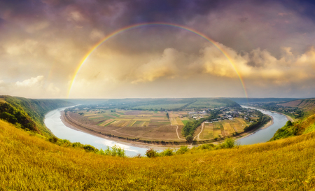 Fantastic view of the sinuous river flowing through mountains. Picturesque and gorgeous scene. Location place Dnister canyon, Ukraine, Europe. Stock fotó