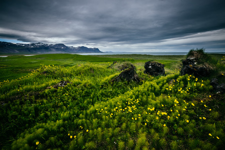 Scenic image of typical Icelandic idyllic landscape. Location hamlet of Budir, Snafellsnes peninsula, Iceland, Europe. Great picture of wild area. Excellent wallpapers. Discover the beauty of earth.