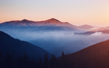 Scenic image of misty range. Locations Carpathian national park, Ukraine, Europe. Excellent wallpapers. Imagens