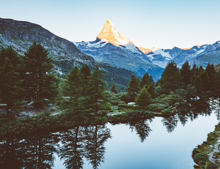Scenic surroundings with famous peak Matterhorn in alpine valley. Popular tourist attraction. Dramatic and picturesque scene. Location place Swiss alps, Grindjisee, Valais region, Europe. Beauty world