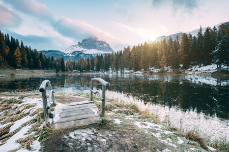 Great view of the foggy lake Antorno in National Park Tre Cime di Lavaredo. Location Auronzo, Misurina, Dolomiti alps, South Tyrol, Italy, Europe. Vintage style. Stock Photo