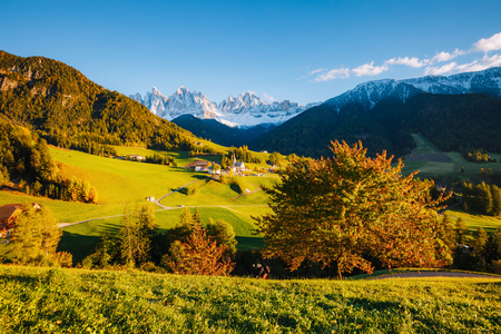 Sunny day in Ssnta Magdalena village. Picturesque and gorgeous scene. Location famous place Funes valley, Odle Group, Dolomiti Alps.