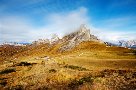Scenic surroundings Passo di Giau with peak Ra Gusela, Averau - Nuvolau group. Great and picturesque scene. Location place Dolomiti Alps, Cortina dAmpezzo, South Tyrol, Italy, Europe. Beauty world. Stock Photo