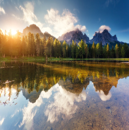Scenic wealth of the Antorno lake in National Park Tre Cime di Lavaredo. Picturesque and gorgeous morning scene. Location Auronzo, Misurina, Dolomiti alps, South Tyrol, Italy, Europe. Beauty world.