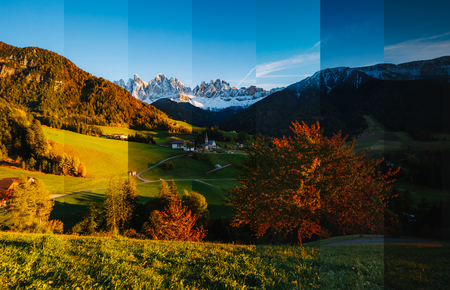 Sunny day in Ssnta Magdalena village. Creative collage of summer landscape with vertical photo. Location famous place Funes valley, Odle Group, Dolomiti Alps. South Tyrol, Italy. Europe. Beauty world.