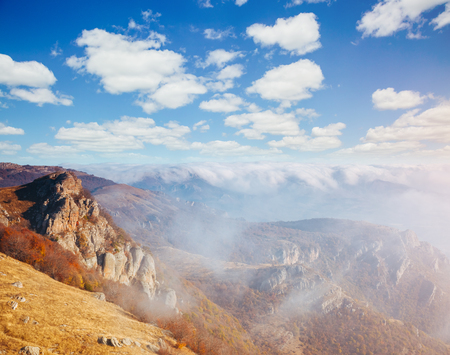 Picture of a scenic range in morning light. Location Crimea, Crimean peninsula, Ukraine, Europe. Perfect wallpapers. Discover the beauty of earth. Great photo of wild area. Concept of active tourism.