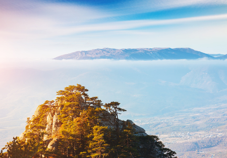 Picture of a scenic range in morning light. Location Crimea, Crimean peninsula, Ukraine, Europe. Incredible wallpapers. Discover the beauty of earth. Great photo of wild area. Soft focus effect.
