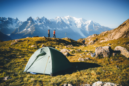 Great Mont Blanc glacier with Lac Blanc. Popular tourist attraction. Location Chamonix resort, Graian Alps, France, Europe. Scenic image of lifestyle hiking concept. Discover the beauty of earth. 写真素材