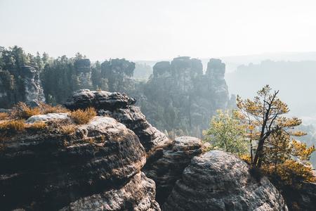 Malerisches Bild des Elbsandsteingebirges. Lage Nationalpark Sächsische Schweiz, Ostdeutschland, Europa. Beliebte Touristenattraktion. Wanderkonzept. Abenteuerurlaub. Entdecke die Schönheit der Erde