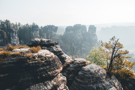 Scenic image of Elbe Sandstone Mountains. Location Saxony Switzerland national park, East Germany, Europe. Popular tourist attraction. Hiking concept. Adventure vacation. Discover the beauty of earth