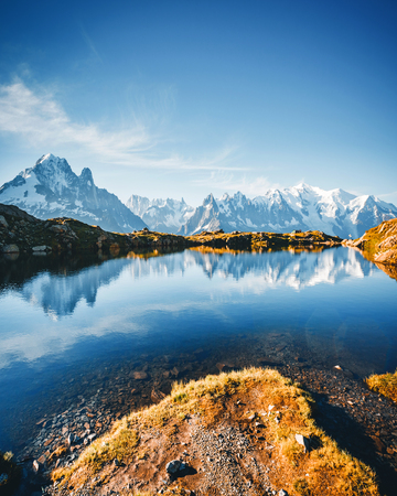 Great Mont Blanc glacier with Lac Blanc. Popular tourist attraction. Location Chamonix, Aiguilles Rouges, Graian Alps, France, Europe. Scenic image of hiking concept. Discover the beauty of earth.