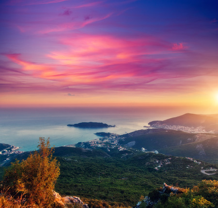 Aerial view of the Adriatic sea and wonderful Budva riviera. Dramatic and gorgeous scene. Location place Montenegro resort, balkan peninsula, Europe. Drone photography. Discover the world of beauty.