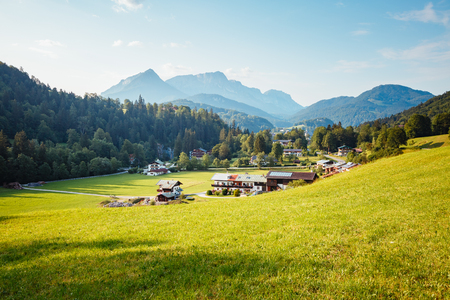 Scenic surroundings near the Konigsee lake. Wonderful day and gorgeous scene. Outdoor activity. Location place Berchtesgaden land Bavaria, Germany alp, sightseeing Europe. Explore the world's beauty.
