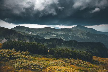 Location Carpathian national park, Ukraine, Europe. Moody weather in countryside. Scenic image of hiking concept. Awesome wallpapers. Idyllic adventure vacations. Discover the beauty of earth. 写真素材