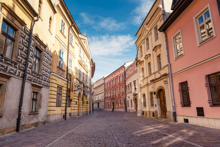 Fantastic view of the ancient city Krakow on a sunny day. Gorgeous and picturesque scene. Location place Poland, sightseeing Europe. Popular tourist attraction. Explore the world's beauty.