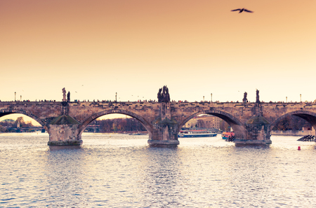 Stunning image of Charles bridge (Karluv Most) and lesser town bridge tower on river Vltava. Location place Prague, Czech Republic, sightseeing Europe. Popular tourist attraction. Beauty world. Stock Photo - 119432938