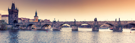 Stunning image of Charles bridge (Karluv Most) and lesser town bridge tower on river Vltava. Location place Prague, Czech Republic, sightseeing Europe. Popular tourist attraction. Beauty world. Stock Photo - 120055992