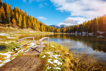 Scenic image of the lake Antorno in National Park Tre Cime di Lavaredo. Location Dolomiti alps, South Tyrol, Italy, Europe. Adventure vacations, lifestyle hiking concept. Explore the beauty of earth.
