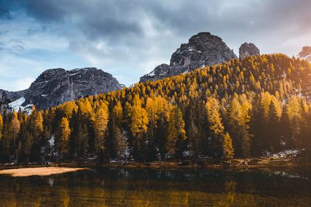 Splendid lake Antorno in National Park Tre Cime di Lavaredo. Location Dolomiti alps, South Tyrol, Italy, Europe. Scenic image of wild area. Lifestyle hiking concept. Explore the beauty of earth.